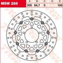 Disque de frein Avant TRW Lucas MSW 286 pour Triumph 800 Tiger XC A08 11-