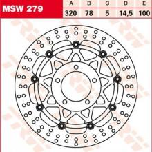 Disque de frein Avant TRW Lucas MSW 279 pour Triumph 1050 Sprint ST 215NA 09-10