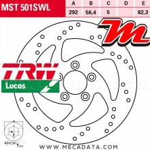 Disque de frein Arrière ~ Harley Davidson XL 1200 X Forty-Eight (XL2) 2010-2013 ~ TRW Lucas MST 501 SWL