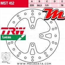 Disque de frein Avant ~ Honda NSC 110 C Vision (JF31) 2011+ ~ TRW Lucas MST 452