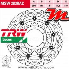 Disque de frein Avant ~ Honda CB 600 FA Hornet ABS (PC41) 2007+ ~ TRW Lucas MSW 283 RAC