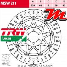 Disque de frein Avant ~ Moto Guzzi V7 750 II Stone, Special, Racer, ABS 2015+ ~ TRW Lucas MSW 211