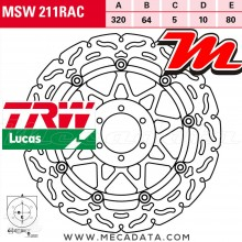 Disque de frein Avant ~ Moto Guzzi RS 1000 Daytona (KL) 1995+ ~ TRW Lucas MSW 211 RAC