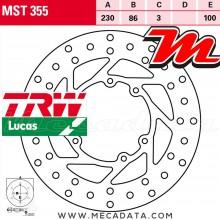 Disque de frein Avant ~ Yamaha DT 125 R, RH, RN (4BL) 1988-1998 ~ TRW Lucas MST 355