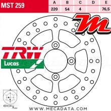 Disque de frein Arrière ~ Yamaha XQ 150 Maxster (SG06) 2001-2003 ~ TRW Lucas MST 259