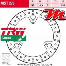 Disque de frein Arrière ~ Yamaha YP 250 RA X-Max ABS (SG22) 2010+ ~ TRW Lucas MST 276