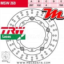Disque de frein Avant ~ Yamaha YP 400 R X-Max (SH07) 2013+ ~ TRW Lucas MSW 269