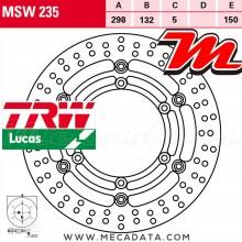 Disque de frein Avant ~ Yamaha XV 535 Virago (VJ01) 1999-2003 ~ TRW Lucas MSW 235