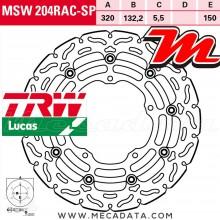 Disque de frein Avant ~ Yamaha YZF 1000 R1, R1M (RN32) 2015-2016 ~ TRW Lucas MSW 204 RAC