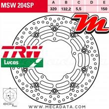 Disque de frein Avant ~ Yamaha YZF 1000 R1, R1M (RN32) 2015-2016 ~ TRW Lucas MSW 204 SP