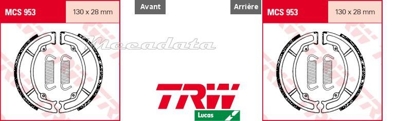 AT2 74-75 Mâchoires de frein Avant TRW Lucas MCS 953 pour Yamaha DT 125 E