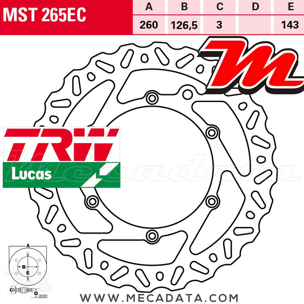 2003-2012 Disque de frein Avant TRW Lucas MST 265 EC pour KTM SX 250 VBKMXN..